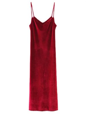 Casual Velvet Maxi Slip Dress - Wine Red