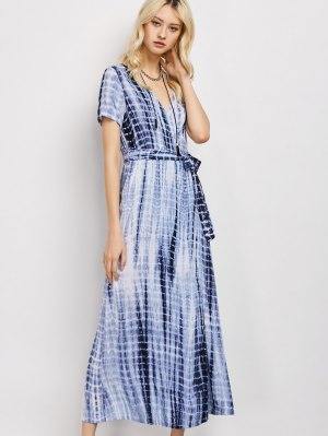 Tie-Dyed Short Sleeve Surplice Maxi Dress - Deep Blue