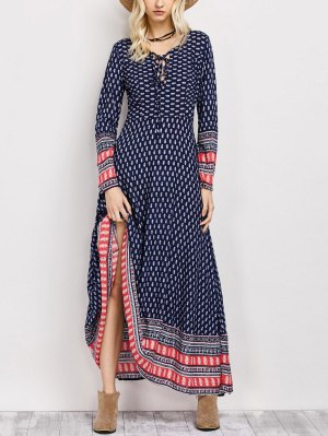 Retro Print Lace Up Long Dress With Sleeves - Blue