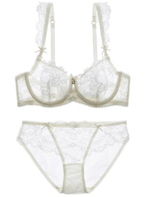 Bowknot Lace Strap Rhinestone Sheer Bra Set - White