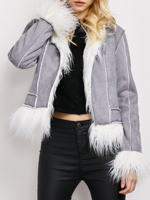 Faux Fur Trim Faux Shearling Jacket - Gray