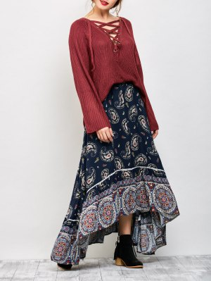 Paisley Pattern Bohemian Maxi Skirt - Purplish Blue