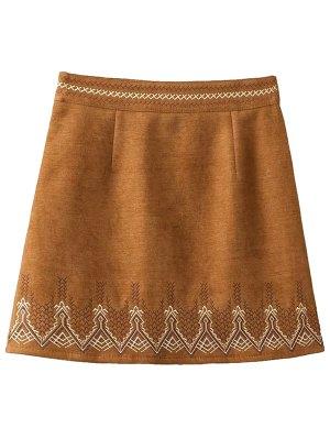 Embroidered Corduroy Skirt - Khaki