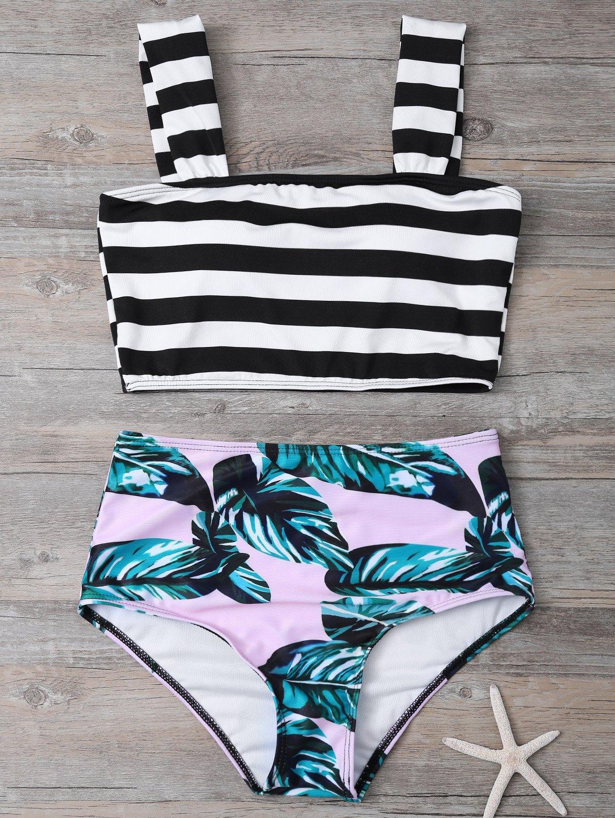 High Waist Striped Tropical Print Bikini Set