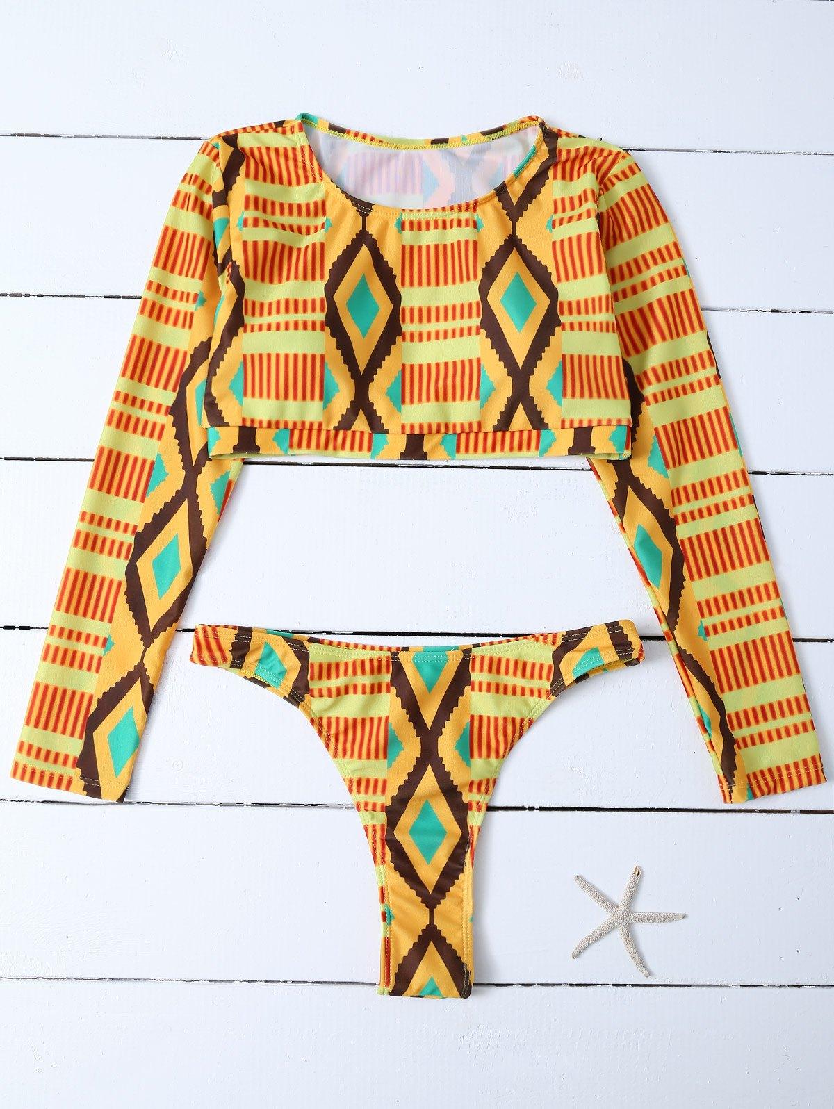 Diamond Print Long Sleeve Bathing Suit