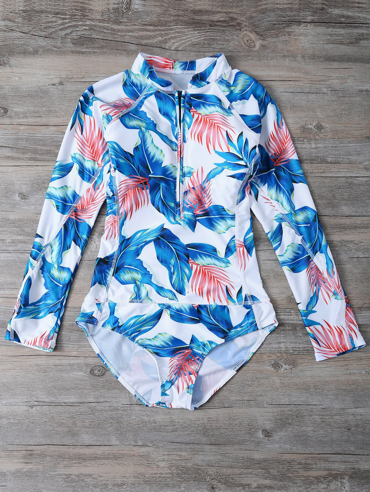 Long Sleeve Leaf Print Swimwear