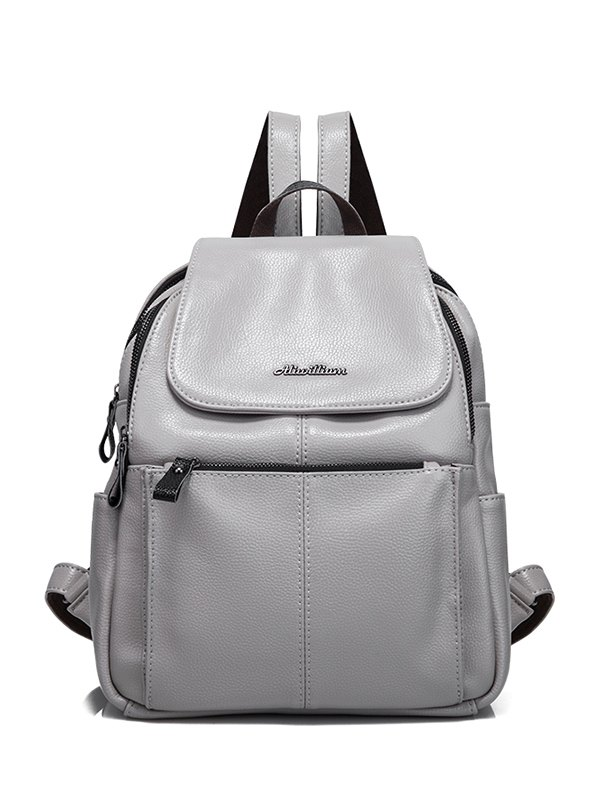 Faux Leather Zippers Backpack