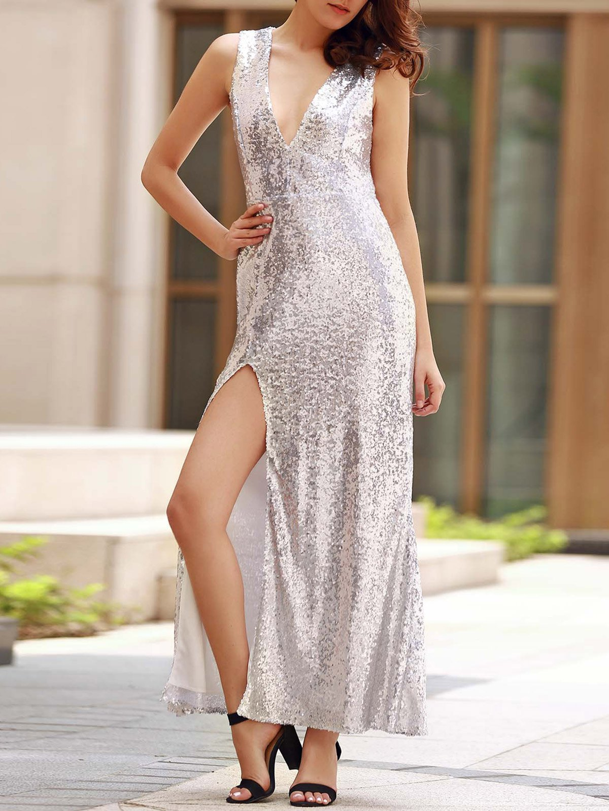 Plunging Neck Sleeveless Backless Sequins Maxi Dress