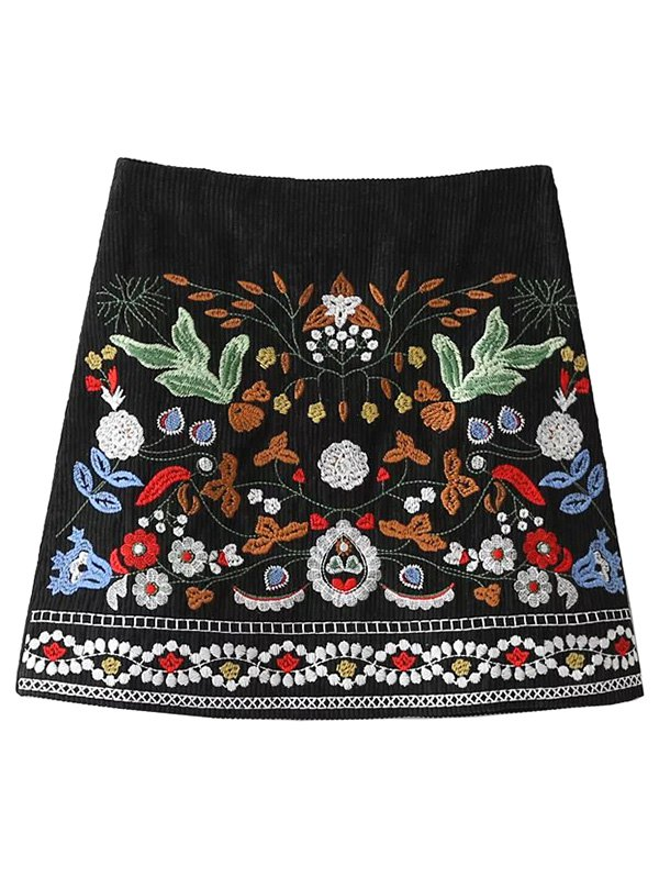 Embroidered Corduroy A-Line Skirt