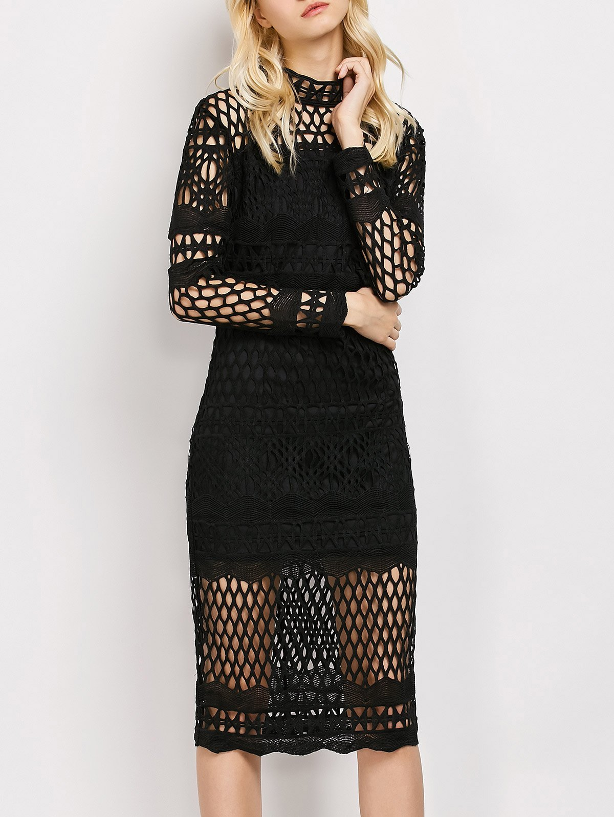 Geometric Lace Long Sleeve Pencil Dress