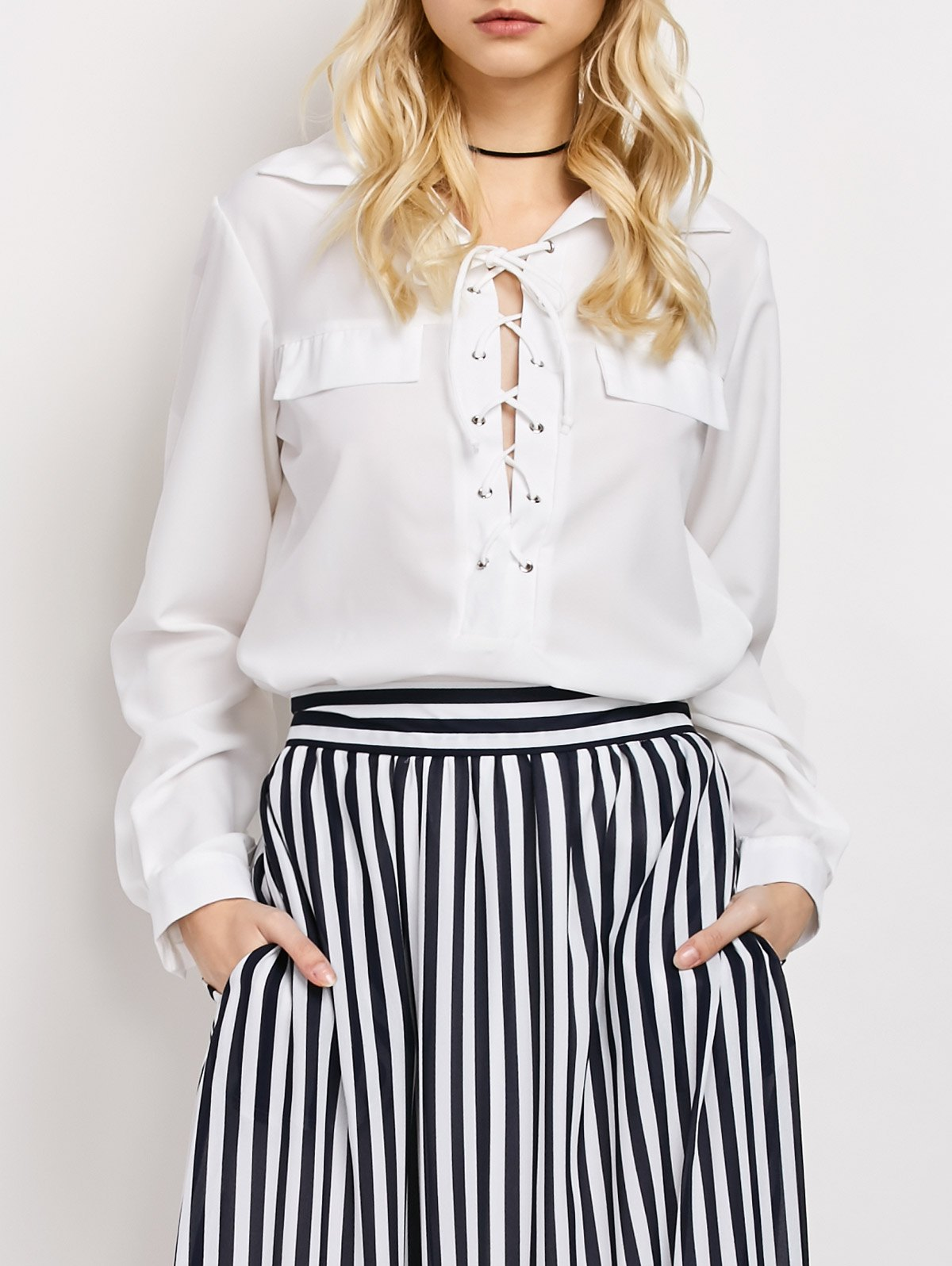 Lace-Up High-Low Shirt