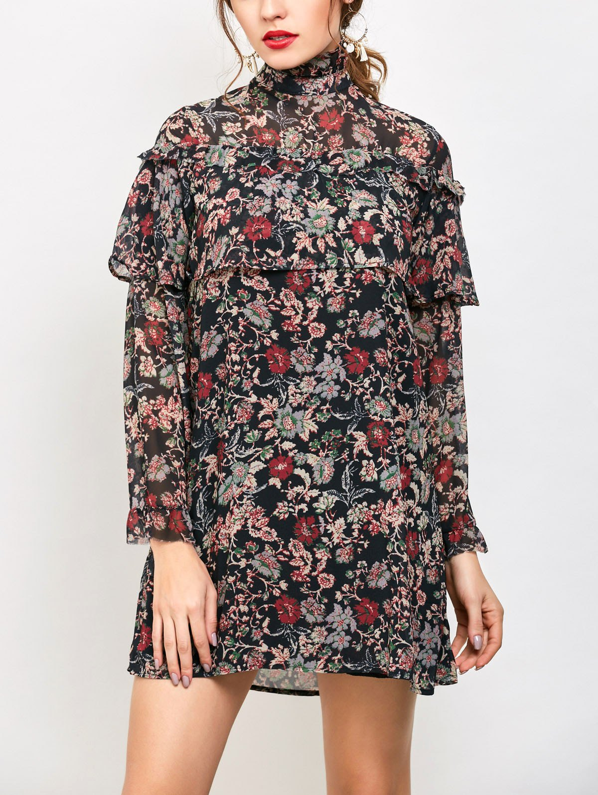 Long Sleeve Ruffles Tiny Floral Dress