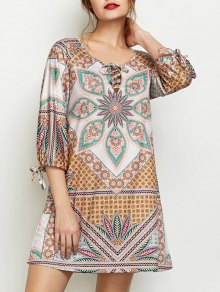 Printed Lace Up Tunic Dress