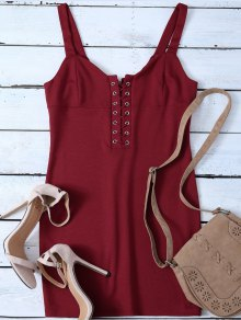 Straps Lace Up Bodycon Mini Dress