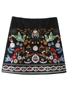 Corduroy Embroidered A-Line Skirt