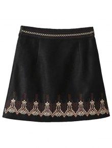 Embroidered Corduroy Skirt - Black M