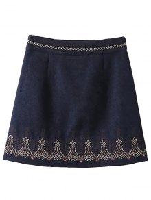 Embroidered Corduroy Skirt