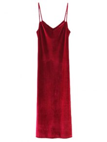 Casual Velvet Maxi Slip Dress