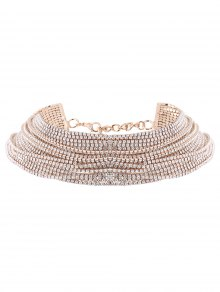 Rhinestone Layered Necklace - Champagne