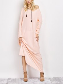 Skew Neck Long Sleeve Loose Maxi Dress
