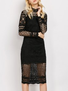 Long Sleeve Geometric Lace Dress - Black