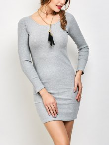 Strappy Long Sleeve Ribbed Sweater Dress - Gray