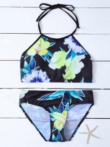 Print High Neck Bikini Set - Black