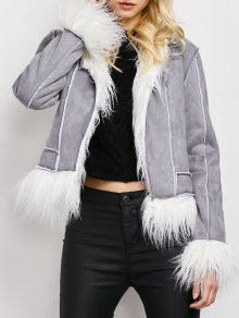 Faux Fur Trim Faux Shearling Jacket