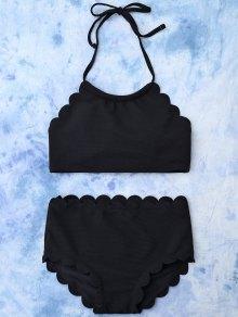 Bikini Festoneado Corte Alto Conjunto  - Negro