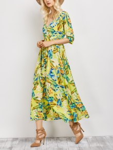 Plunge Neck Bohemian Tropical Floral Maxi Dress