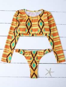 Printed Long Sleeve Bathing Suit - Multicolor S