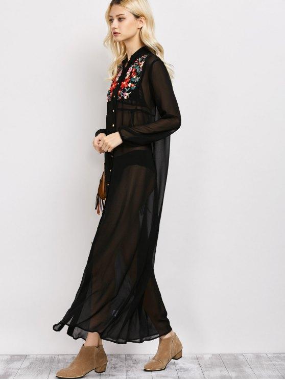 Embroidered Sheer Maxi Shirt Dress - BLACK L Mobile