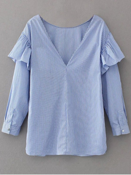 V Neck Ruffle Striped Pullover Shirt - BLUE L Mobile