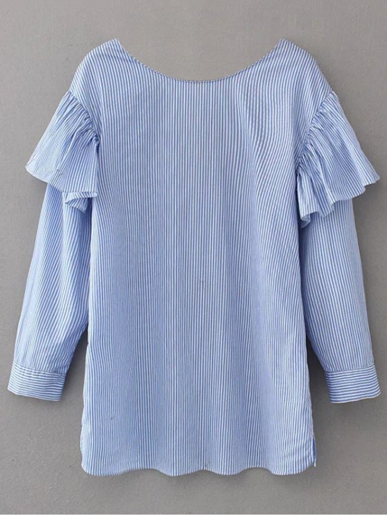 V Neck Ruffle Striped Pullover Shirt - BLUE XS Mobile