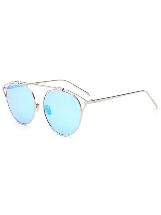 Ahueca hacia fuera del ojo de gato metal las gafas de sol de espejo - Azul Hielo