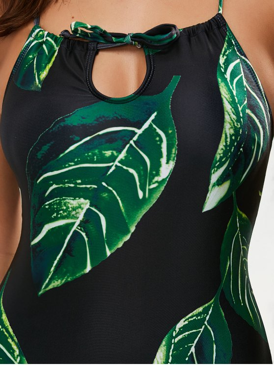 Printed Lace-Up One-Piece Swimwear - BLACK XL Mobile