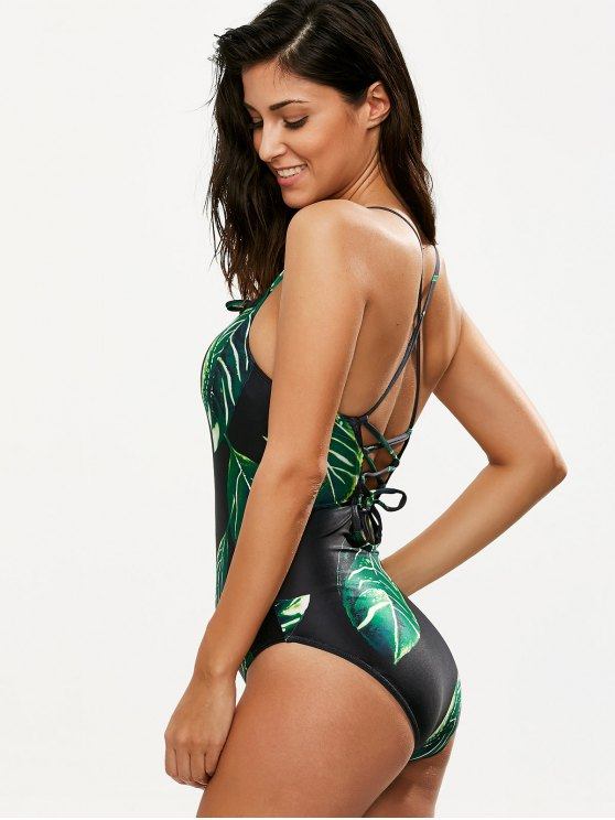 Printed Lace-Up One-Piece Swimwear - BLACK S Mobile