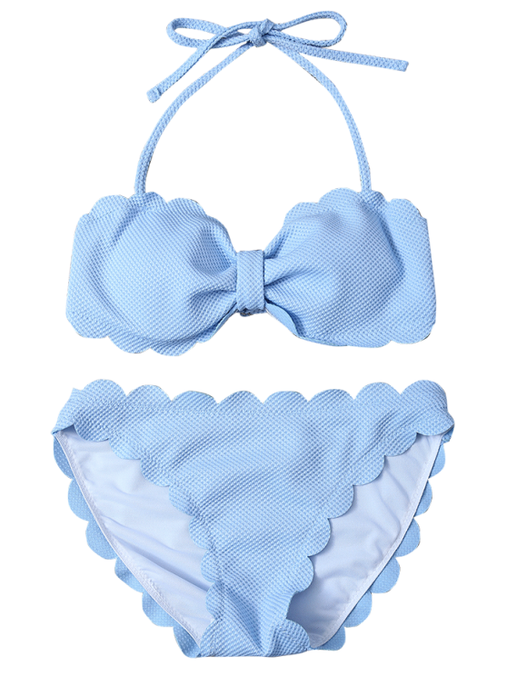 Three Piece Scalloped Bathing Suit - LIGHT BLUE XL Mobile