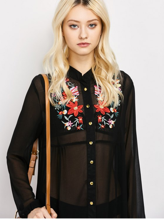 Embroidered Sheer Maxi Shirt Dress - BLACK XL Mobile