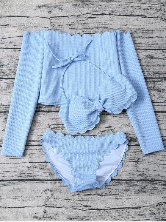 Three Piece Scalloped Bathing Suit - LIGHT BLUE L Mobile