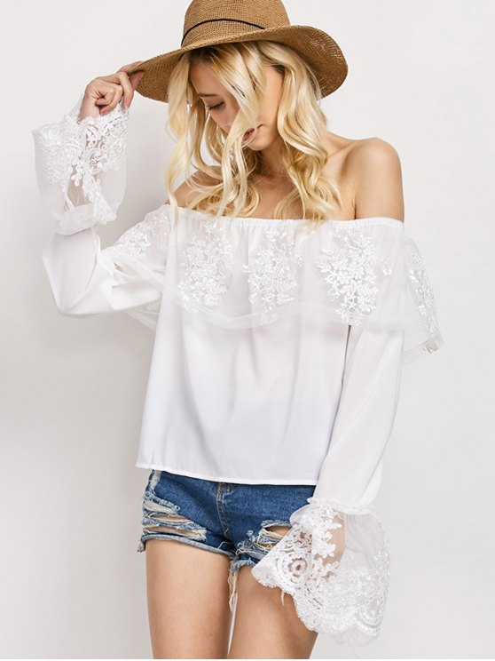 latest Lace Chiffon Off The Shoulder Top - WHITE M