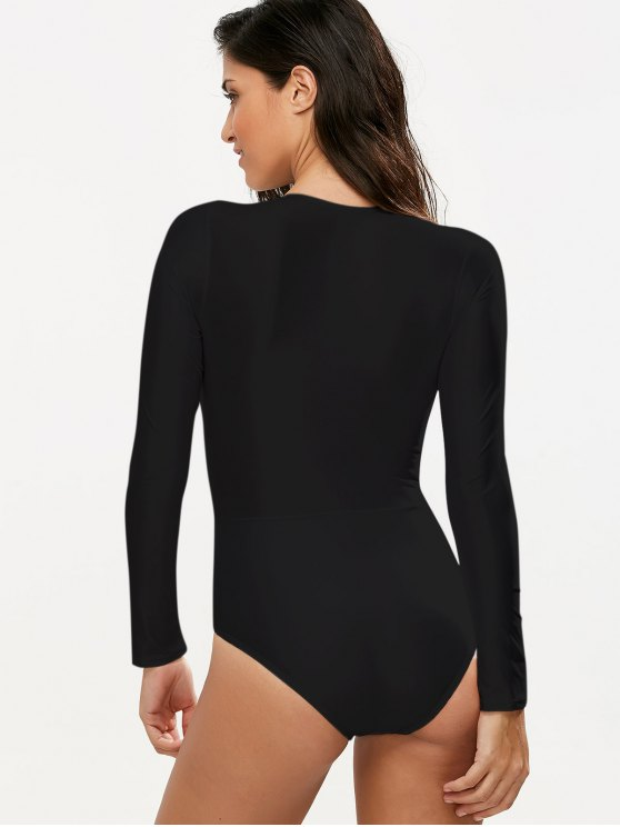 Long Sleeved Lacing Plunge Swimsuit - BLACK S Mobile
