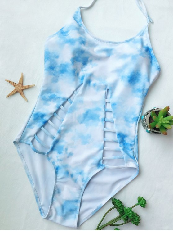 Cutout Tie-Dyed One-Piece Swimwear - LIGHT BLUE M Mobile