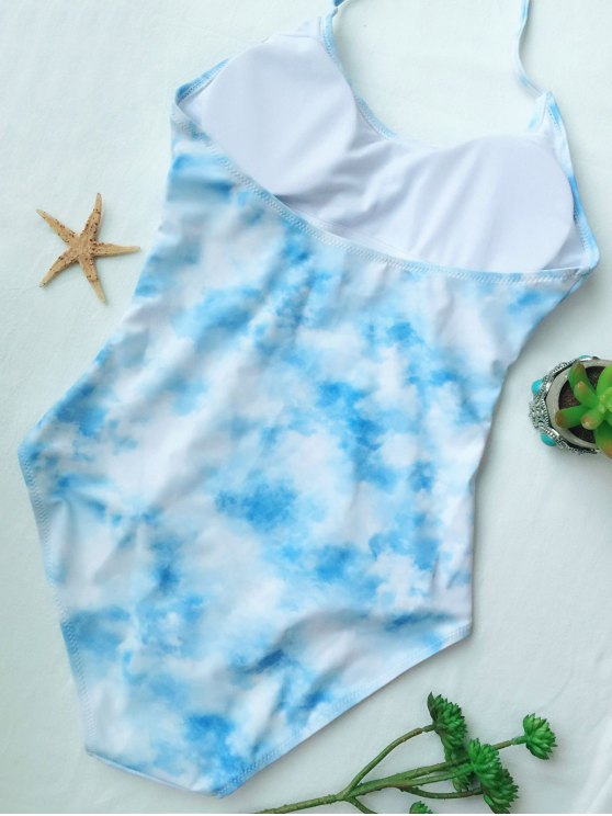 Cutout Tie-Dyed One-Piece Swimwear - LIGHT BLUE XL Mobile