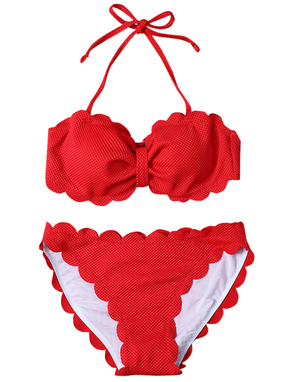 Three Piece Scalloped Bathing Suit - RED M Mobile