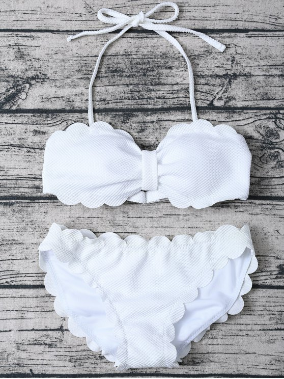 Three Piece Scalloped Bathing Suit - WHITE L Mobile