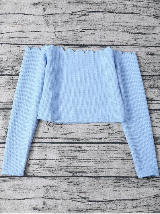 Scalloped Three Piece Swimwear - LIGHT BLUE L Mobile