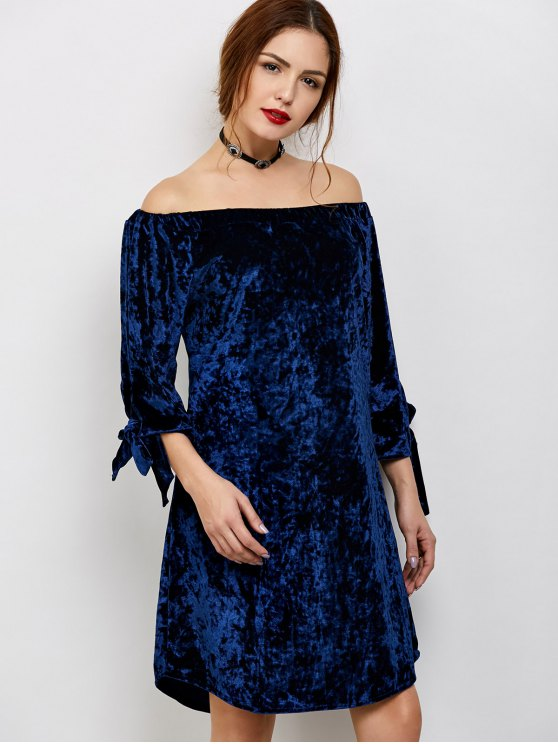 Off Shoulder Pleuche Dress - BLUE S Mobile