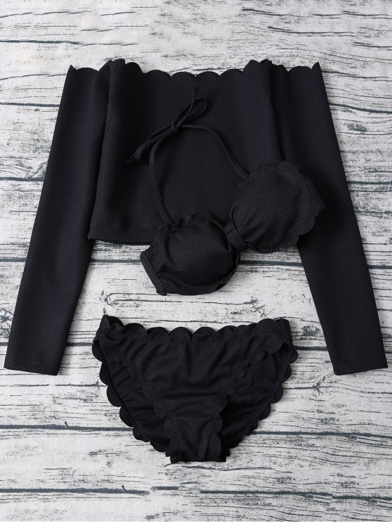 Three Piece Scalloped Bathing Suit - BLACK XL Mobile