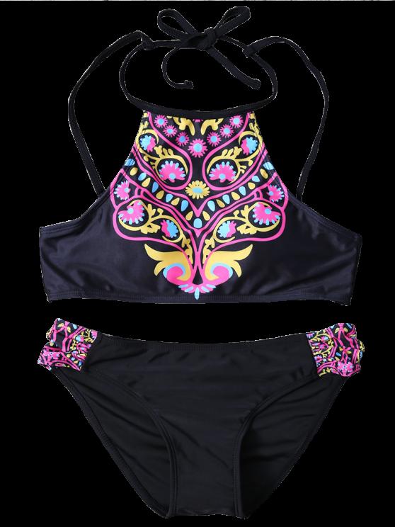 High Neck Bikini Top and Bottom - BLACK M Mobile